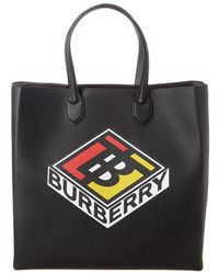 Burberry Large Logo Graphic Grainy Leather Tote - Black