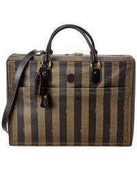 Fendi Brown Pequin Suitcase