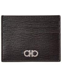 Ferragamo Gancio Square Leather Card Case - Black