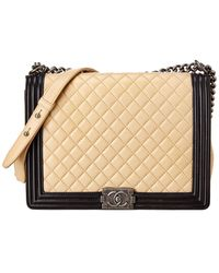 Chanel Beige Quilted Lambskin Leather Large Boy Bag - Natural