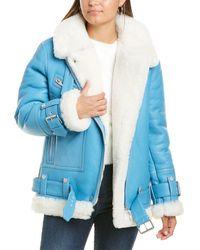 The Arrivals Moya Leather Coat - Blue
