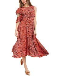 Maje Cold-shoulder Midi Dress - Red