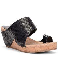 Donald J Pliner Gretta Leather Wedge Sandal - Black