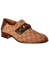 Gucci GG Canvas Horse Bit Leather Loafer - Brown