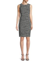 Calvin Klein Houndstooth-print Sheath Dress - Black