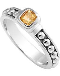 Lagos Signature Caviar Silver Citrine Ring - Metallic