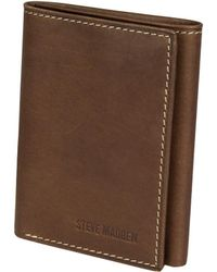 Steve Madden Antique Genuine Leather Trifold - Brown