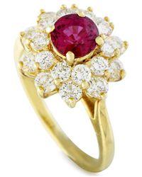 Heritage Tiffany & Co. Tiffany & Co. 18k 2.40 Ct. Tw. Diamond & Ruby Floral Ring - Metallic