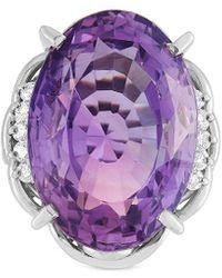 Heritage Platinum 0.24 Ct. Tw. Diamond & Amethyst Ring - Multicolour
