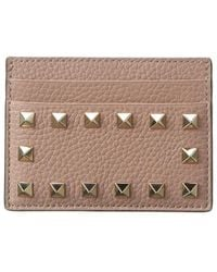 Valentino Rockstud Grainy Leather Card Holder - Brown