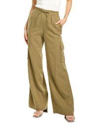 Alice + Olivia Elda Flared Linen-blend Cargo Pant - Green