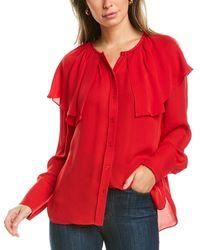 Rebecca Taylor Georgette Silk Blouse - Red