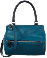 Givenchy Pandora Small Perforated Leather Shoulder Bag - Blue