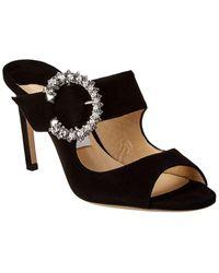 Jimmy Choo Saf Embellished Suede Mules - Black