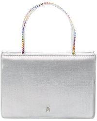 AMINA MUADDI Amini Gilda Crystal Embellished Satin Handbag - Metallic
