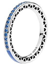 PANDORA Silver & Blue Cz Radiant Heart Ring - Multicolour