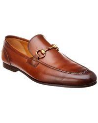 Gucci Jordan Horsebit-detail Leather Loafers - Brown