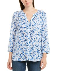 NYDJ 3/4-sleeve Printed Pintuck Blouse - Blue