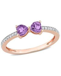 Rina Limor - 10k Rose Gold 0.56 Ct. Tw. Diamond & Amethyst Ring - Lyst