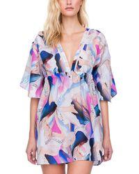 Gottex Dusk To Dawn Silk-blend Cover-up Dress - Blue