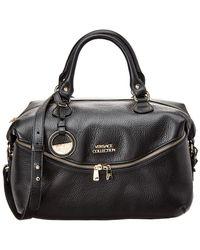 Versace Leather Zip-front Satchel - Black