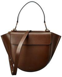 Wandler Hortensia Medium Leather Satchel - Brown