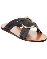 Chloé - Ring-embellished Leather Slides - Lyst