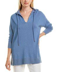 Lafayette 148 New York Relaxed Linen-blend Hoodie - Blue