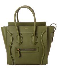 Céline Micro Luggage Leather Tote - Green