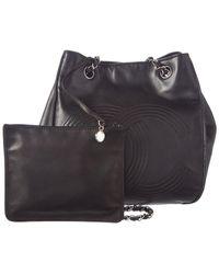 Chanel Black Lambskin Leather Chain Bucket Bag