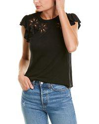 Rebecca Taylor Emilie Embroidered Wool-blend Jersey - Black