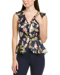 Alice + Olivia Nora Silk Blouse - Blue