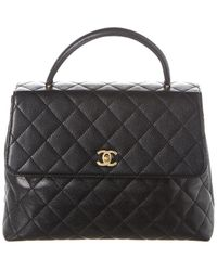 Chanel Black Quilted Caviar Leather Kelly Single Flap Bag