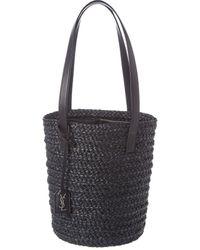 Saint Laurent Small Panier Woven Raffia & Leather Bucket Bag - Black