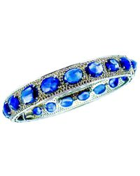 Arthur Marder Fine Jewelry Silver 30.10 Ct. Tw. Diamond & Sapphire Bangle - Blue