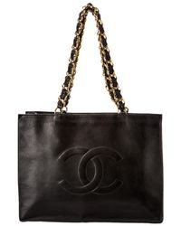 Chanel Black Lambskin Leather Fletch Handle Tote