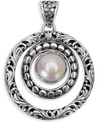 Samuel B. Jewellery Silver Pearl Circle Pendant - Metallic