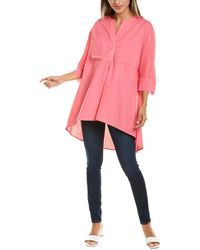 Anne Klein High-low Linen-blend Tunic - Pink