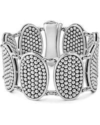 Lagos Sterling Silver Bold Caviar Ellipse Link Bracelet - Metallic