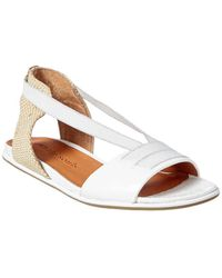 Gentle Souls Lark Elastic Flat Patent Sandals - White