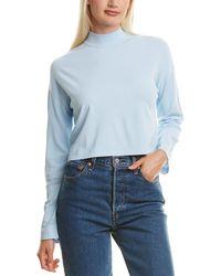 Diane von Furstenberg Laureen Perforated-knit Mockneck - Blue