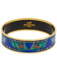 Hermès Gold-plated & Printed Enamel Wide Bangle - Blue