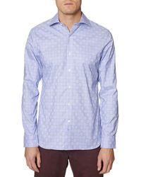 Hickey Freeman Plaid Woven Shirt - Blue