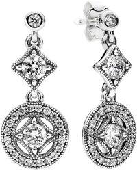 PANDORA Silver Cz Vintage Allure Drop Earrings - Metallic