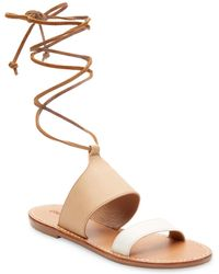 3f58cb5f99eb7 Wide Fit Tan Leather Leopard Print Strap Sandals. £20. New Look · Soludos -  Leather Ankle-strap Flat Sandal - Lyst