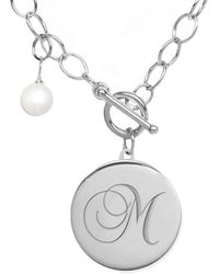 Jane Basch Silver 6-8mm Pearl A-z Initial Toggle Necklace (a-z) - Metallic