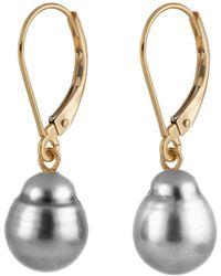 Splendid 14k 9-10mm Tahitian Pearl Earrings - Metallic