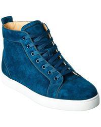 Christian Louboutin Louis Orlato Suede High-top Sneaker - Blue