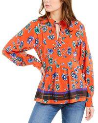 10 Crosby Derek Lam Floral Silk Tunic - Orange