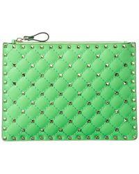 Valentino Garavani Rockstud Spike Leather Pouch - Green